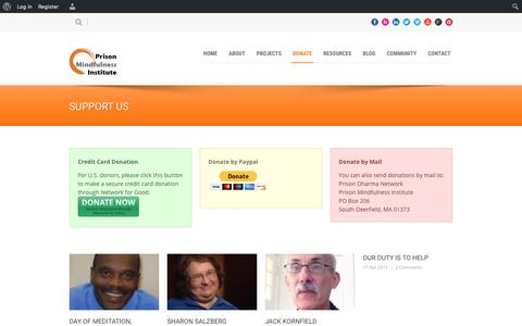 Screenshot of Support Page prisonmindfulness.org - Prison Mindfulness Institute   » Support Us - captured Sept. 29, 2018