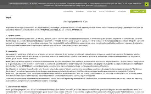 Screenshot of Terms Page barbadillo.com - Legal   Barbadillo - captured Sept. 23, 2014