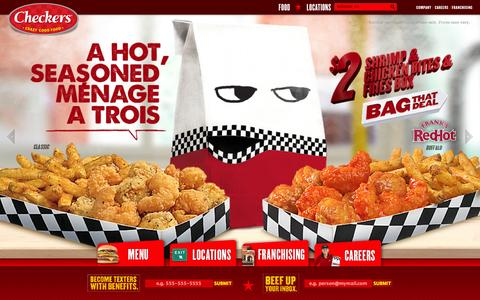 Screenshot of Home Page checkers.com - Checkers Drive In | Burgers - Fries - Cola – Wings - - captured Sept. 23, 2014