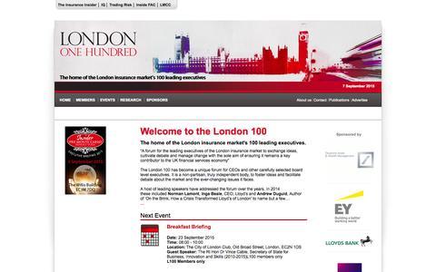 Screenshot of Home Page london-100.com - London 100   London 100 - captured Sept. 7, 2015