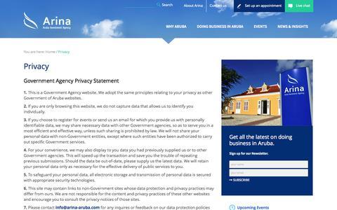 Screenshot of Privacy Page arina-aruba.com - Privacy » Arina - captured Oct. 4, 2014