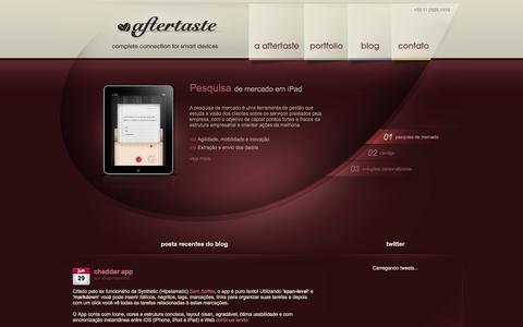Screenshot of Home Page aftertaste.cc - aftertaste complete connection for smart devices - captured Sept. 30, 2014
