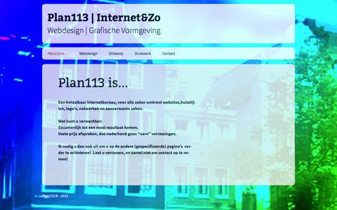 Screenshot of Home Page plan113.nl - Plan113   Internet&Zo   Webdesign   Grafische Vormgeving - captured Sept. 18, 2015