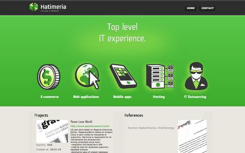 Screenshot of Home Page hatimeria.com - Hatimeria Web applications, Magento, Extjs - captured Sept. 24, 2014