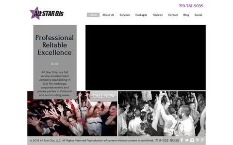 Screenshot of Home Page allstardjsco.com - Home | All Star DJs | Colorado Springs Wedding DJ | Photo Booth - captured Oct. 8, 2017