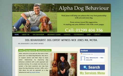 Screenshot of Home Page alphadogbehaviour.co.uk - Dog Behaviourist. Dog Expert Witness. Nick Jones MA. Alpha Dog Behaviour - captured Sept. 30, 2014