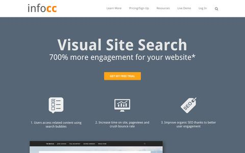 Screenshot of Home Page infocc.com - Site Search - captured Sept. 19, 2014