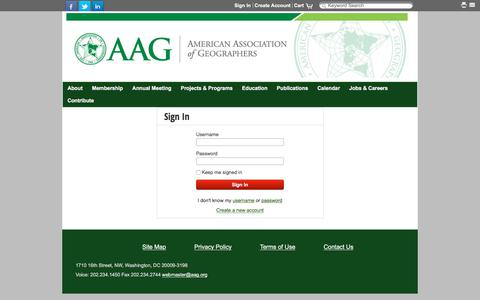 Screenshot of Login Page aag.org - Sign In - captured Aug. 20, 2017