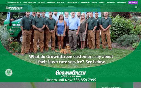 Screenshot of Testimonials Page growingreen.com - Testimonials   Greensboro, Winston-Salem   GrowinGreen - captured Sept. 30, 2018