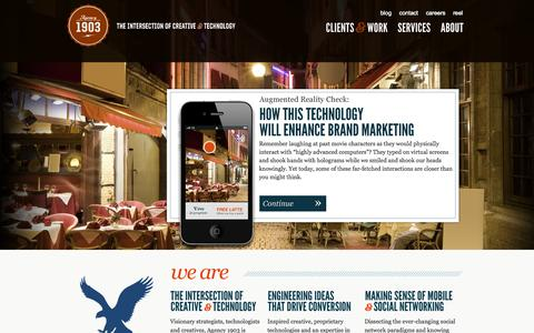 Screenshot of Home Page 1903.agency - Agency1903 // Digital Communications and Creative Content Development - captured Oct. 4, 2014