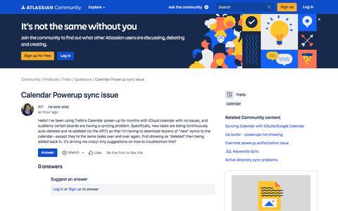 Screenshot of FAQ Page atlassian.com - Calendar Powerup sync issue - captured Feb. 8, 2020