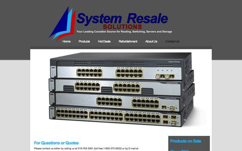 Screenshot of Contact Page systemresale.com - Used Cisco routers and switches + used HP / Compaq / Digital VAX & Alpha from System Resale - captured Oct. 7, 2014