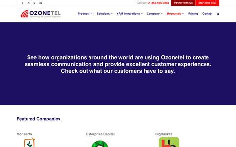 Screenshot of Case Studies Page ozonetel.com - Casestudies – Ozonetel - captured Jan. 6, 2020