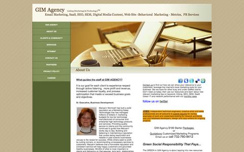 Screenshot of About Page gimagency.com - About Us - captured Oct. 3, 2014
