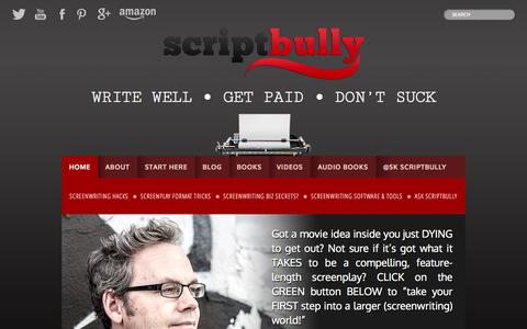 Screenshot of Home Page scriptbully.com - ScriptBully — Write Well . Get Paid . Don't Suck - captured Oct. 3, 2014