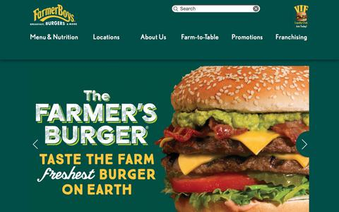Screenshot of Home Page farmerboys.com - Farmer Boys | Breakfast, Burgers and More - captured Nov. 11, 2017