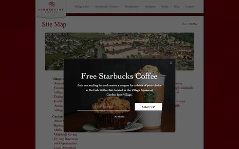 Screenshot of Site Map Page gardenspotvillage.org - Site Map - captured Nov. 4, 2018