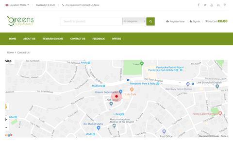 Screenshot of Contact Page greens.com.mt - Contact | Greens Supermarket - captured Nov. 11, 2018