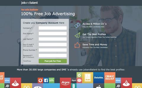 Screenshot of Landing Page jobandtalent.com - Innovative Job Platform - captured Oct. 22, 2016