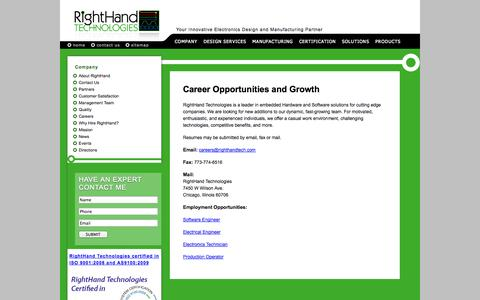Screenshot of Jobs Page righthandtech.com - RightHand Technologies Careers - captured Oct. 26, 2014