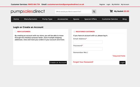 Screenshot of Login Page pumpsalesdirect.co.uk - Customer Login - captured Dec. 14, 2015