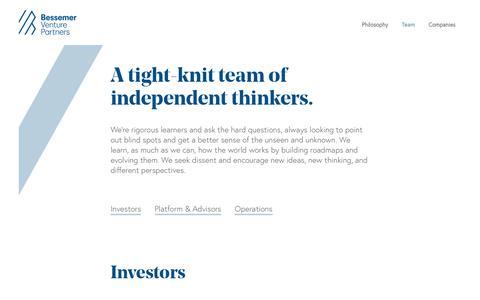 Screenshot of Team Page bvp.com - Team · Bessemer Venture Partners — BVP - captured Feb. 5, 2019