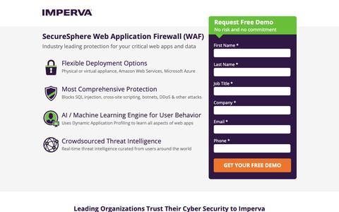 Screenshot of Landing Page imperva.com - SecureSphere Web Application Firewall (WAF) - captured Sept. 30, 2018