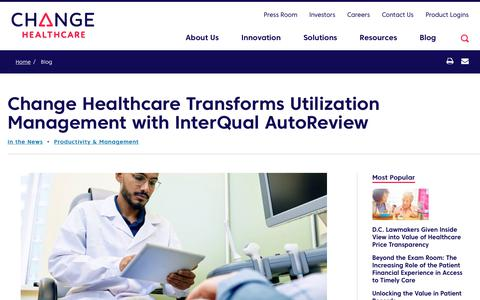 Screenshot of Team Page changehealthcare.com - Change Healthcare Transforms Utilization Management with InterQual AutoReview | Change Healthcare - captured Feb. 20, 2020