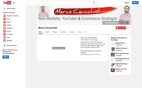 Screenshot of YouTube Page youtube.com - Marco Cavicchioli  - YouTube - captured Oct. 30, 2014