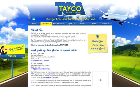 Screenshot of About Page taycooutdoor.com.au - About Us | Tayco. Outdoor Advertising - captured Oct. 7, 2014