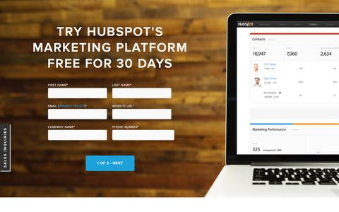 Screenshot of Trial Page hubspot.com - HubSpot 30 Day Trial | Content Marketing Software - captured Sept. 30, 2015