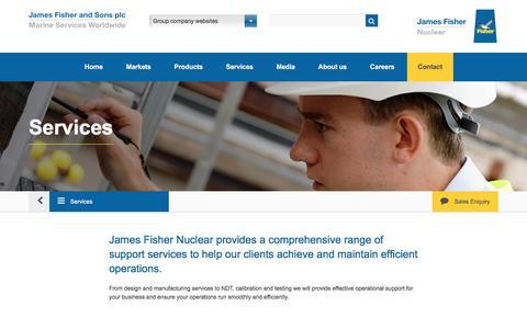 Screenshot of Services Page jfnl.co.uk - James Fisher Nuclear Ltd.   Services - captured Nov. 26, 2016