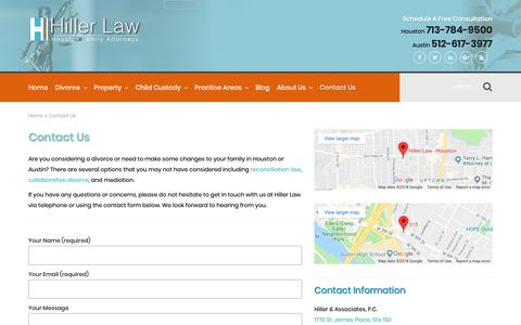 Screenshot of Contact Page hillerlaw.com - Contact Us | Houston & Austin Divorce Lawyers | Hiller Law - captured Sept. 28, 2018
