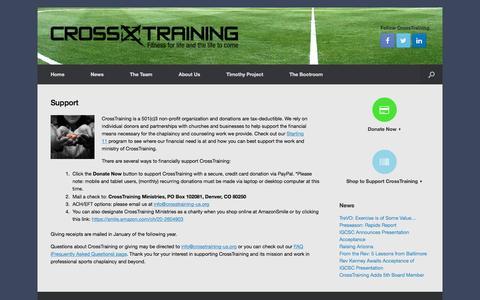 Screenshot of Support Page crosstraining-us.org - Support - CrossTraining - captured Feb. 1, 2016