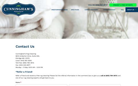Screenshot of Contact Page rugcleaning.net - Contact Us   Cunninghams Rug Cleaning - captured Sept. 17, 2017