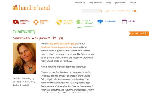Screenshot of Support Page handinhandparenting.org - Community | Hand in Hand Parenting - captured Aug. 12, 2018
