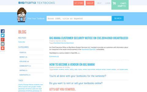 Screenshot of Blog bigmama.ca - Textbook Rental - BigMama Textbook Rentals Canada - captured Oct. 5, 2014