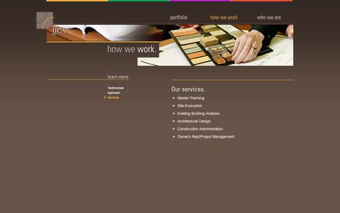 Screenshot of Services Page jjca.com - Johnson Johnson Crabtree Architects P.C. | How We Work | Services - captured Dec. 20, 2015