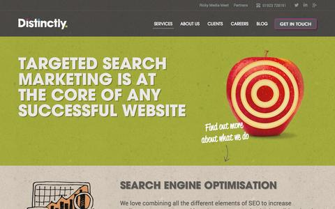 Screenshot of Services Page distinctly.co - Search Marketing Services - captured Sept. 19, 2014