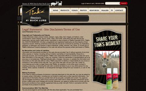 Screenshot of Terms Page tinks.com - Tinks.com Legal Statement – Site Disclaimer and Terms of Use   Tink's - captured Oct. 9, 2014