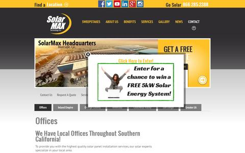 Screenshot of Locations Page solarmaxtech.com - SolarMax Technology Inc - All LocationsSolarMax Technology, Inc - captured Sept. 18, 2014