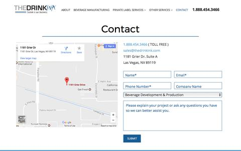 Screenshot of Contact Page thedrinkink.com - Contact The Drink Ink for a free quote for your beverage manufacturing - captured June 14, 2017