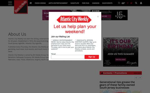 Screenshot of About Page atlanticcityweekly.com - About Us | Site | atlanticcityweekly.com - captured July 31, 2018