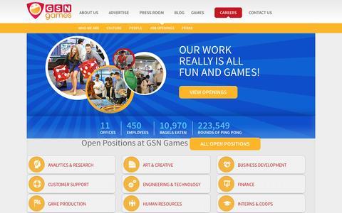 Screenshot of Jobs Page gsngames.com - Careers - GSN Games - captured Sept. 18, 2016