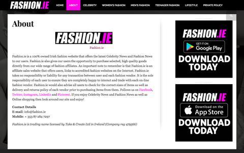 Screenshot of About Page fashion.ie - Fashion 2017 Ireland Latest Fashion Celebrity News - About Fashion.ie - captured Oct. 13, 2017