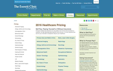 Screenshot of Pricing Page everettclinic.com - 2016 Healthcare Pricing   The Everett Clinic - captured Feb. 12, 2016