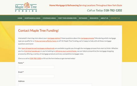 Screenshot of Contact Page mapletreefunding.com - Contact Maple Tree Funding for NY Mortgages & Home Refinancing - captured Sept. 20, 2018