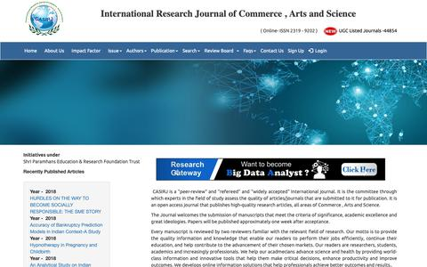 Screenshot of About Page casirj.com - UGC Listed – Approved Journal – casirj.com : About Journal - captured Oct. 23, 2018