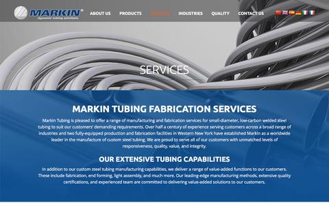 Screenshot of Services Page markin.com - Custom Steel Tubing Manufacturing, Cut-to-Length Tubing: Markin - captured Feb. 12, 2016