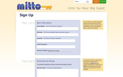 Screenshot of Signup Page mitto.com - Sign Up - Mitto: Your Safe and Secure Password Manager - captured Oct. 26, 2014